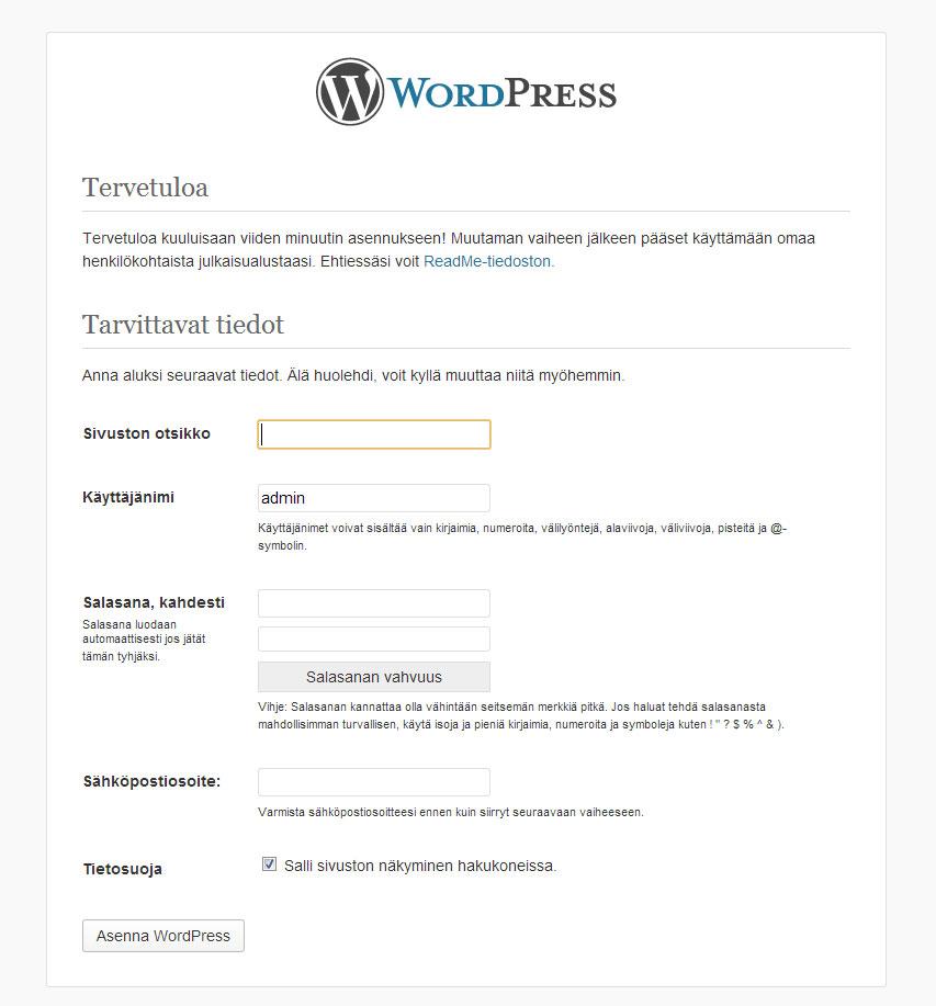 WordPressin viimeinen asennusvaihe