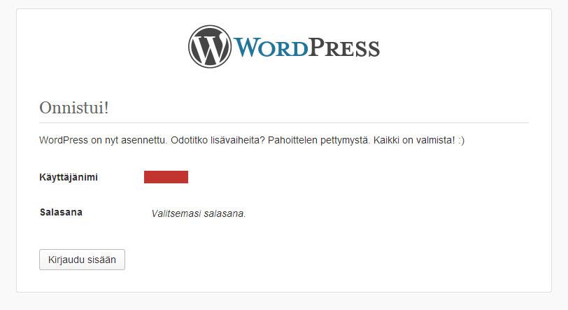 WordPressin asennus on valmis